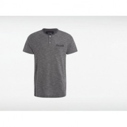 Polo homme maille moulinée col mao